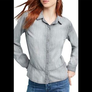 NWT Cloth & Stone washed gray peplum top size S